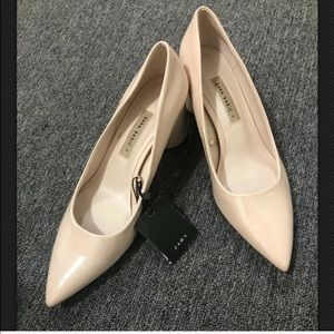 Zara Nude Patent Pointed Toe Pumps Block Heels 10